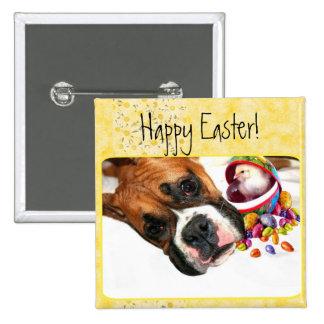 Perrito del boxeador de Pascua y botón felices del Pin