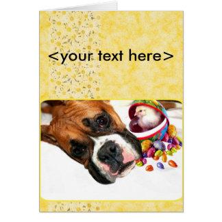 Perrito del boxeador de Pascua y tarjeta de felici