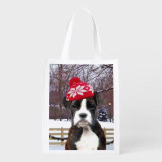 Perrito del boxeador del navidad bolsas reutilizables