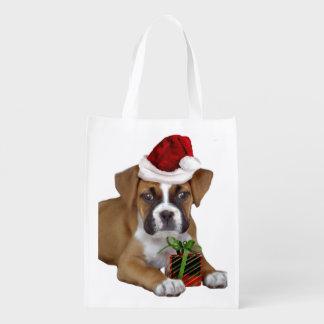 Perrito del boxeador del navidad bolsas para la compra