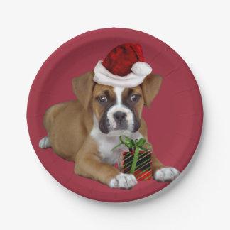 Perrito del boxeador del navidad platos de papel