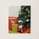 Perrito del boxeador del navidad puzzle con fotos