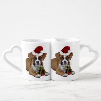 Perrito del boxeador del navidad tazas para parejas