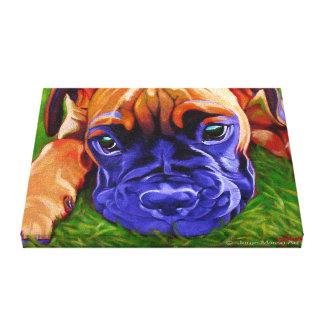 Perrito del boxeador en lona envuelta impresión en lienzo estirada