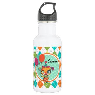 Perrito del circo en el modelo colorido de Argyle Botella De Agua De Acero Inoxidable