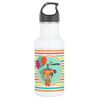 Perrito del circo; Rayas brillantes del arco iris Botella De Agua