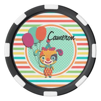 Perrito del circo; Rayas brillantes del arco iris Fichas De Póquer