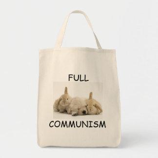 Perrito del comunismo y tote llenos de los conejit bolsa tela para la compra