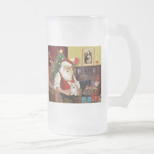 Perrito del Corgi de Santa en casa - Galés Tazas