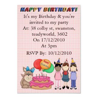 Perrito del cumpleaños invitación 12,7 x 17,8 cm