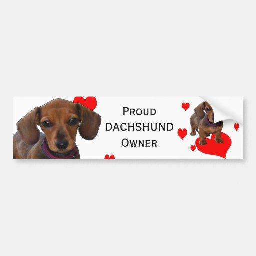 Perrito del DACHSHUND con los corazones Pegatina De Parachoque