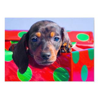 """Perrito del Dachshund en caja de regalo Invitación 5"""" X 7"""""""