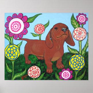 Perrito del Dachshund en la impresión de las flore Poster