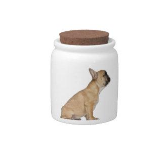 Perrito del dogo francés (3,5 meses) jarra para caramelo