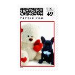 Perrito del dogo francés de la tarjeta del día de sello