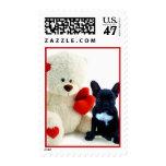 Perrito del dogo francés de la tarjeta del día de timbre postal