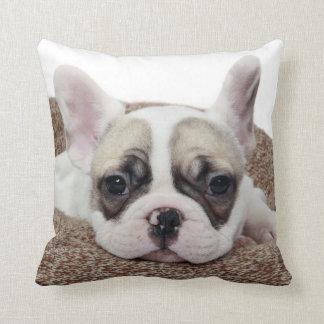 Perrito del dogo francés que miente en una cama cojín decorativo