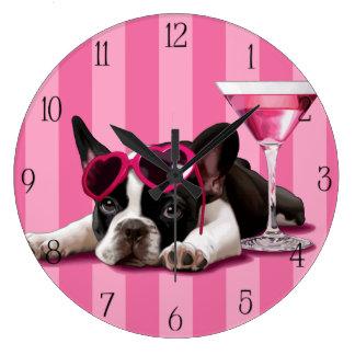 Perrito del dogo francés reloj redondo grande