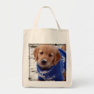 Perrito del golden retriever bolsa tela para la compra