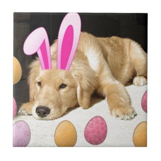 Perrito del golden retriever de Pascua Azulejo Cuadrado Pequeño