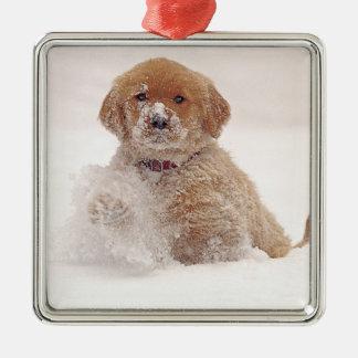Perrito del golden retriever en nieve adorno navideño cuadrado de metal