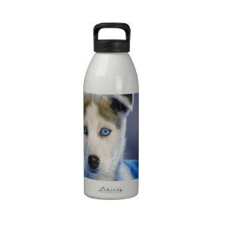 Perrito del husky siberiano botella de agua