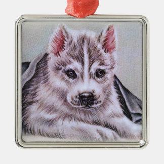 Perrito del husky siberiano con el dibujo adorno navideño cuadrado de metal
