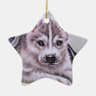 Perrito del husky siberiano con el dibujo adorno navideño de cerámica en forma de estrella
