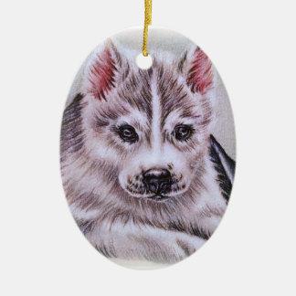 Perrito del husky siberiano con el dibujo adorno navideño ovalado de cerámica