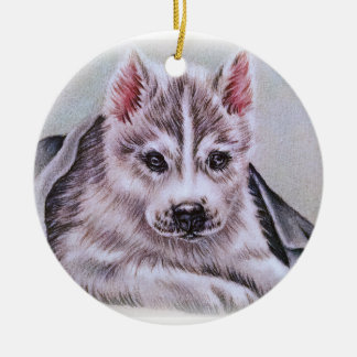 Perrito del husky siberiano con el dibujo adorno navideño redondo de cerámica
