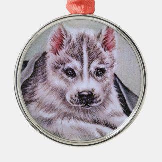 Perrito del husky siberiano con el dibujo adorno navideño redondo de metal
