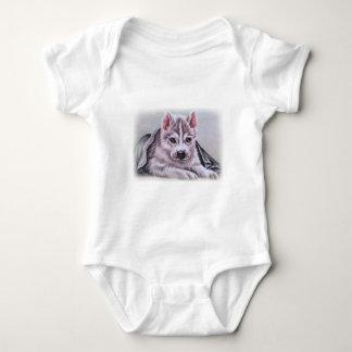 Perrito del husky siberiano con el dibujo body para bebé
