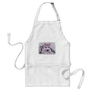 Perrito del husky siberiano con el dibujo delantal