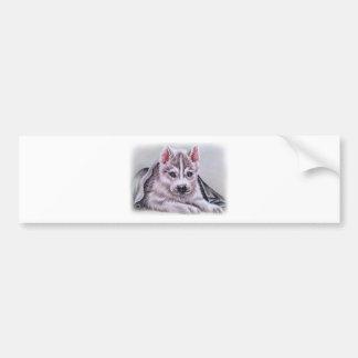 Perrito del husky siberiano con el dibujo pegatina para auto
