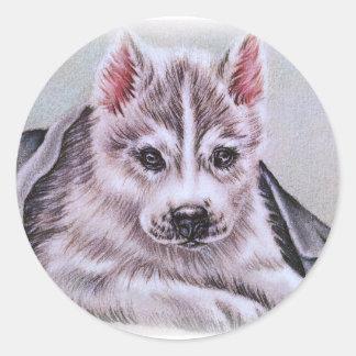 Perrito del husky siberiano con el dibujo pegatina redonda