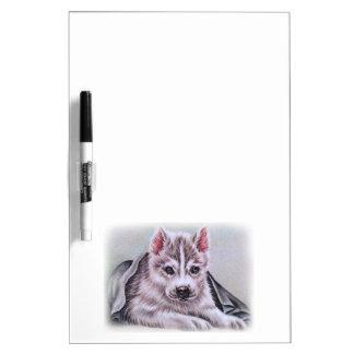 Perrito del husky siberiano con el dibujo pizarras blancas de calidad