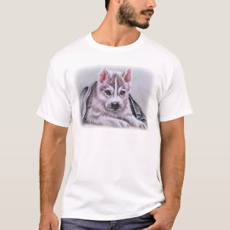 Perrito del husky siberiano con el dibujo playera