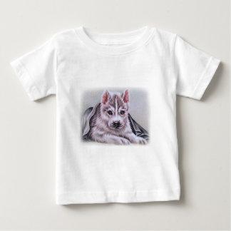 Perrito del husky siberiano con el dibujo playera de bebé