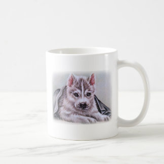 Perrito del husky siberiano con el dibujo taza básica blanca