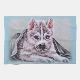 Perrito del husky siberiano con el dibujo toallas de mano