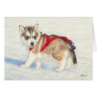 Perrito del husky siberiano en nieve tarjeta de felicitación