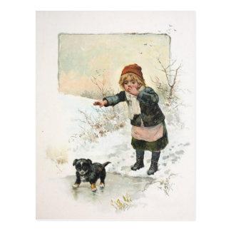 Perrito del invierno en vintage fino del hielo postal