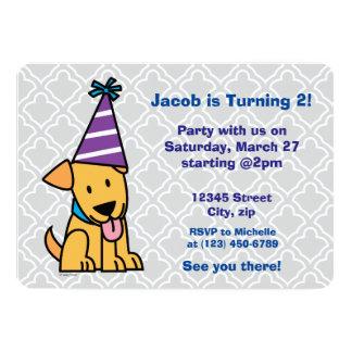"""Perrito del laboratorio del fiesta del feliz invitación 5"""" x 7"""""""