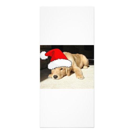 Perrito del navidad del golden retriever tarjeta publicitaria personalizada
