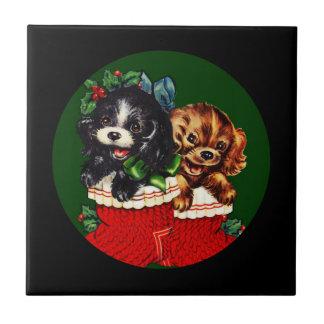 Perrito del navidad hola azulejo cuadrado pequeño