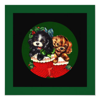 """Perrito del navidad hola invitación 5.25"""" x 5.25"""""""