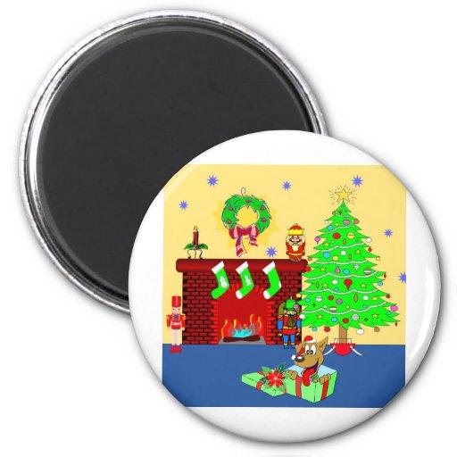 Perrito del navidad imán redondo 5 cm