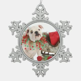 Perrito del navidad - sentada inglesa del perrito adorno