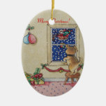 perrito del navidad y ornamento lindos del arte de ornatos