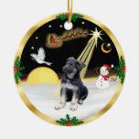 Perrito del pastor alemán del vuelo de noche adorno de navidad